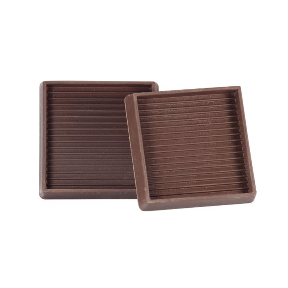 3-inch Brown Square Rubber Caster Cups