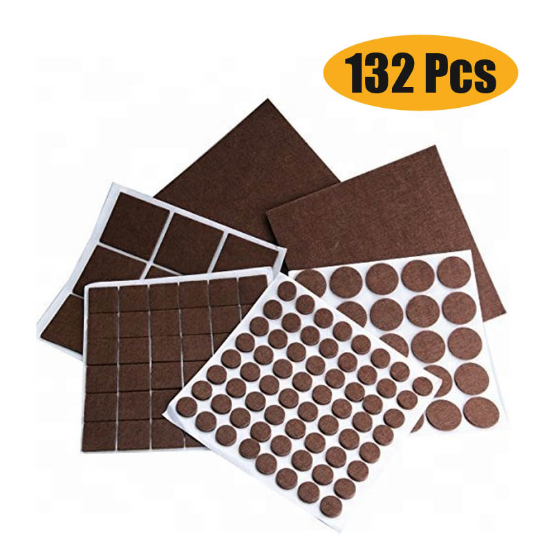 132 Pcs Brown Self Adhesive Furniture Felt Pads