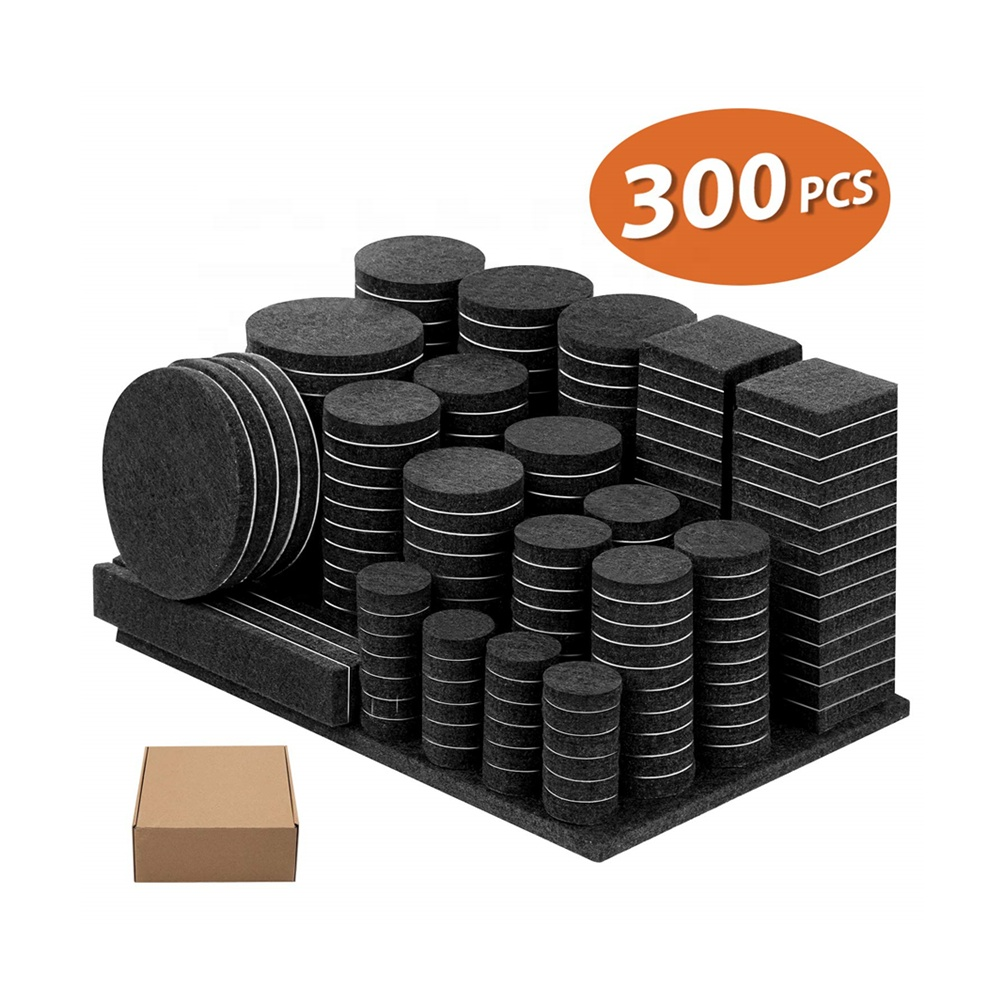 300 Pieces Thick 3M Adhesive Felt Furniture Pads with Rubber Bumpers for Desk Chair Legs