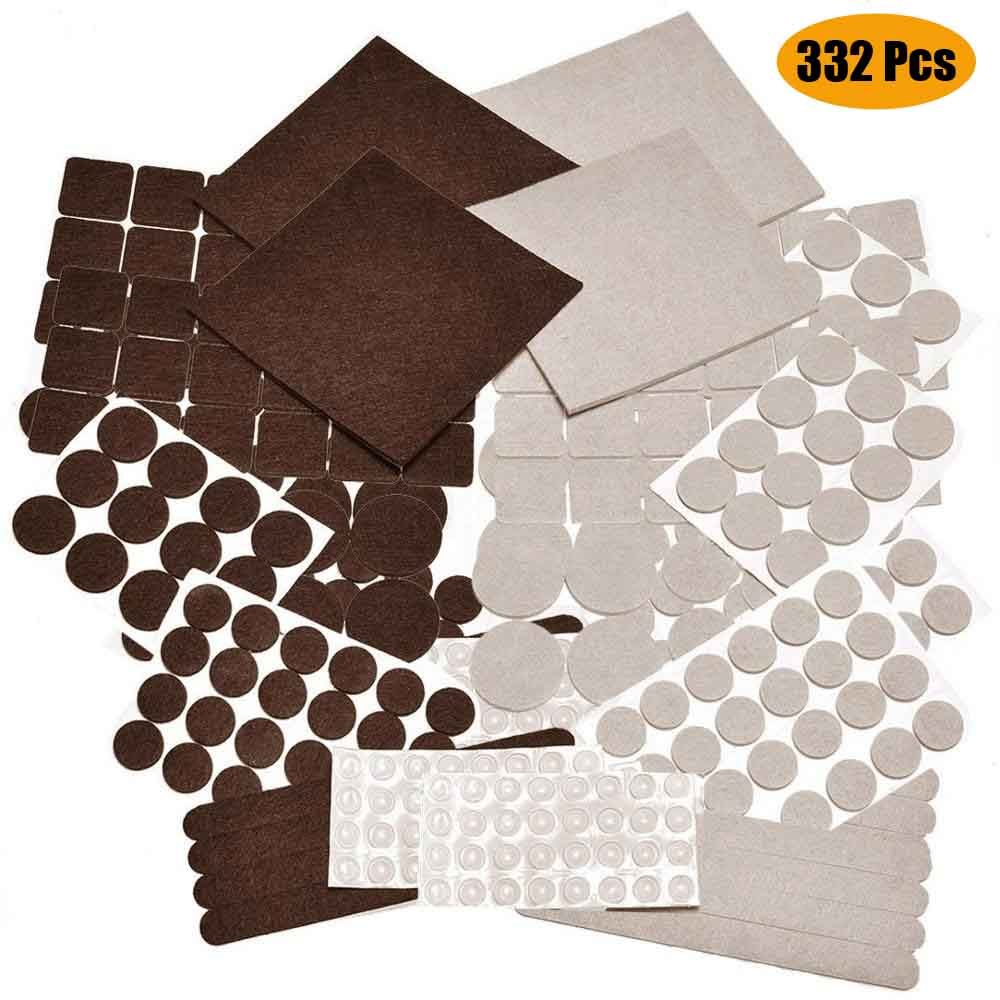 332 Piece Two Colors Self Adhesive Felt Pads with Bumpers for Furniture