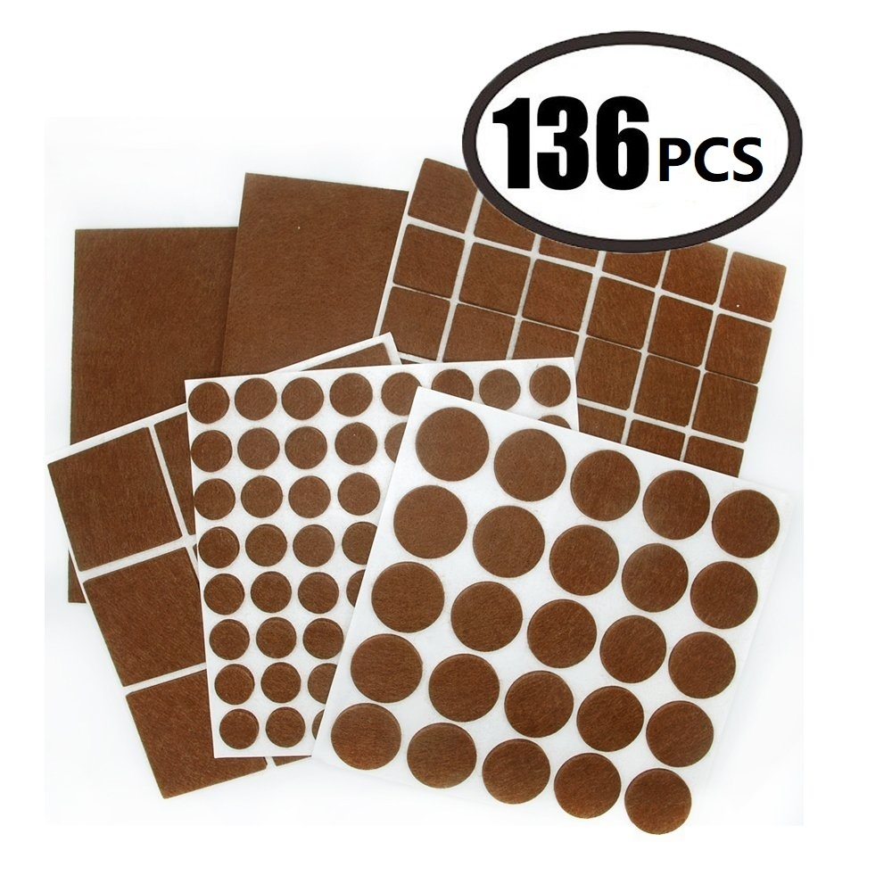 136 Pieces Hardwood Floor Protector  Adhesive Furniture Felt Pads