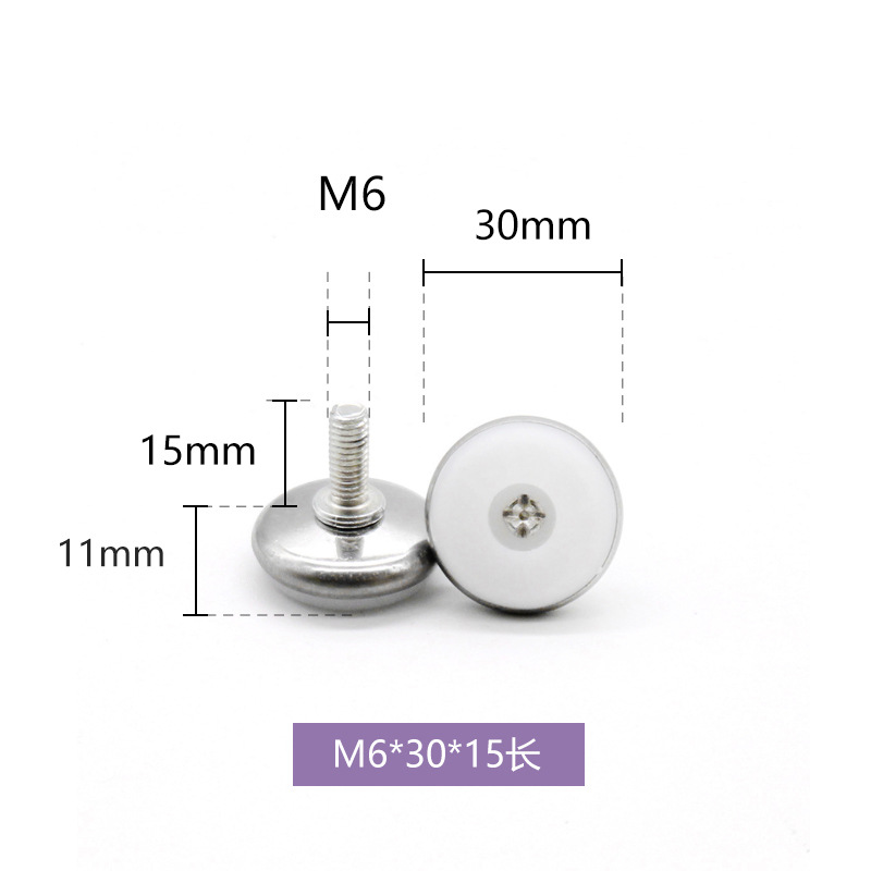 M6X30X15mm Screw on Furniture Threaded Stem Glide Leveling Feet